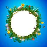 Happy easter with eggs and flowers on circle background. Illustration of Happy easter with eggs and flowers on circle background Stock Photography