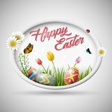 Happy easter with eggs and flowers on circle background. Illustration of Happy easter with eggs and flowers on circle background Royalty Free Stock Image