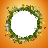 Happy easter with eggs and flowers on circle background. Illustration of Happy easter with eggs and flowers on circle background Stock Photo