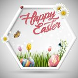 Happy easter eggs with flowers tulip and butterfly on frame background. Illustration of Happy easter eggs with flowers tulip and butterfly on frame background Royalty Free Stock Photos