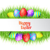 Happy Easter eggs frame. Happy Easter collection. Colorful eggs and grass border on white background. Realistic vector illustration stock illustration