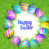 Happy Easter eggs frame. Happy Easter collection. Colorful eggs and grass frame on white background. Round border. Realistic vector illustration vector illustration