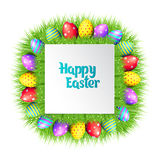 Happy Easter eggs frame. Happy Easter collection. Colorful eggs and grass frame on white background. Square border. Realistic vector illustration stock illustration