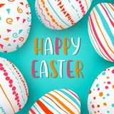 Happy Easter eggs frame with text. Colorful easter eggs on blue. hand font. Scandinavian ornaments. Simple pink, orange, red, blue stripes, patterns , confetti Stock Image