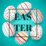 Happy Easter eggs frame with text. Colorful easter eggs on blue. Scandinavian ornaments. Simple pink, orange, red, blue stripes, patterns points, confetti Stock Photo