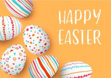 Happy Easter eggs frame with text. Colorful easter eggs on golden background. Hand font. Scandinavian ornaments. simple orange, red, blue stripes, patterns Royalty Free Stock Image