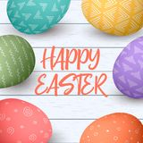 Happy Easter eggs frame with text. Colorful easter eggs on white wooden background. Your design, elegant ornaments. vector illustration. Postcard template Royalty Free Stock Photos