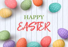 Happy Easter eggs frame with text. Colorful easter eggs on white wooden background. Your design. Elegant ornaments.  illustration. Postcard template Royalty Free Stock Photo