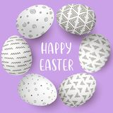Happy Easter eggs frame with text. White eggs on circle with monochrome simple decoration on purple background. Happy Easter eggs with text. White eggs in Stock Photo