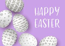 Happy Easter eggs frame with text. White easter eggs with monochrome simple decoration on purple. Background. Abstract ornaments. stripes, patterns Stock Image