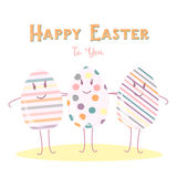 Happy Easter eggs Friend on white background. Funny greeting card design Stock Images