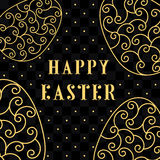Happy Easter Eggs gold on a black. Easter banner background template with gold contour  eggs. Vector illustration. EPS10 Stock Image