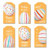Happy Easter eggs golden labels set. 6 ribbon tags collection. colorful eggs designed as labels. Simple decorated ornaments. Illustration. Postcard template Royalty Free Stock Image