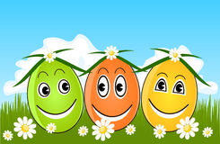 Happy Easter eggs on grass Royalty Free Stock Photography