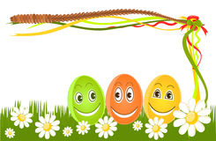 Happy Easter eggs on grass Stock Photo
