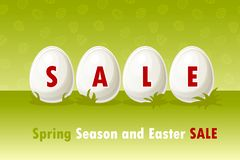 Vector Happy Easter, eggs on grass. Spring and Easter sale offer, banner template. On Separate Layers. Happy Easter, eggs on grass. Spring and Easter sale offer royalty free illustration