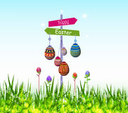 Happy easter eggs hanging on the tree Stock Photography
