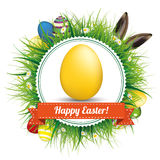 Happy Easter Eggs Hare Ears Emblem Royalty Free Stock Photography