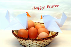 Happy Easter with eggs and hens Royalty Free Stock Photography