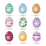 Happy easter eggs icons. Colored vector paschal egg set with decoration pattern isolated on white background Stock Images