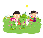 Happy easter eggs with kids and bunny funny Stock Photo