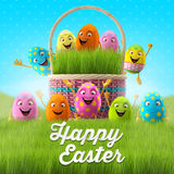 Happy Easter eggs, merry 3D set, spring series, happy cartoon objects, easter banner, postcard Royalty Free Stock Photos