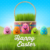 Happy Easter eggs, merry 3D set, spring series, happy cartoon objects, easter banner, postcard. Happy Easter eggs, merry 3D set, spring series, happy cartoon stock illustration