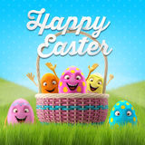 Happy Easter eggs, merry 3D set, spring series, happy cartoon objects, easter banner, postcard Royalty Free Stock Images