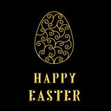 Happy Easter Eggs neon on a black. Easter banner background template with gold contour  eggs. Vector illustration. EPS10 Stock Image