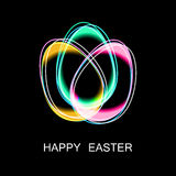 Happy Easter Eggs neon on a black. Easter banner background template with gold contour  eggs. Vector illustration. EPS10 Royalty Free Stock Photos