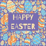 Happy easter eggs pattern on purple background. stock illustration