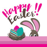 Happy Easter eggs and peeking bunny flat design Stock Images