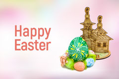 Happy Easter eggs on pink background Royalty Free Stock Photography