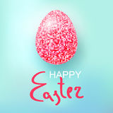 Happy Easter Eggs pink glitter on a blue. Easter banner background template with pink glitter egg. Vector illustration. EPS10 Stock Photography
