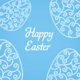 Happy Easter Eggs pink glitter on a blue. Easter banner background template with pink glitter egg. Vector illustration. EPS10 Stock Photo