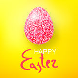 Happy Easter Eggs pink glitter on a yellow. Easter banner background template with pink glitter egg. Vector illustration Royalty Free Stock Image