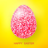 Happy Easter Eggs pink glitter on a yellow Royalty Free Stock Photo