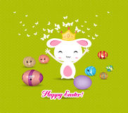 Happy easter eggs and princess bunny funny Stock Image