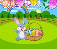 Happy Easter with eggs and rabbit Royalty Free Stock Image