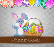 Happy Easter with eggs and rabbit Royalty Free Stock Images