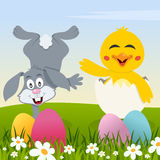 Happy Easter with Eggs, Rabbit and Chick Royalty Free Stock Image