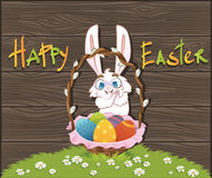 Happy easter with eggs and rabbit. Over wood background. Vector illustration Royalty Free Stock Image