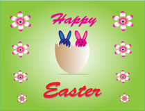 Happy Easter. Eggs and rabbits symbolize happine Royalty Free Stock Photos