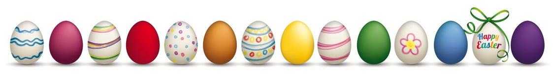 14 Happy Easter Eggs Ribbon Header Ribbon. 14 easter eggs on the white stock illustration