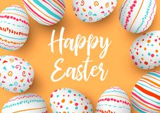 Happy Easter eggs in a row with text. Colorful easter eggs in circle on golden background. hand font. Scandinavian ornaments. simple orange, red, blue stripes royalty free illustration