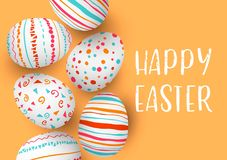 Happy Easter eggs in a row with text. Colorful easter eggs on golden background. Hand font. Scandinavian ornaments. simple orange, red, blue stripes, patterns royalty free illustration