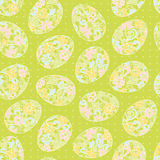 Happy Easter eggs seamless background. Vector bright spring pattern. Holiday background lacy surface texture. Ornamental wallpaper. Can be used for wallpaper royalty free illustration