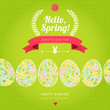Happy Easter eggs seamless border with hipster label. Floral elements, ribbons, bunny and place for your text. Template for easter card. Vector Illustration vector illustration