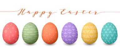 Happy Easter eggs. Set of whtie Easter eggs with different simple textures on white background. Stock Images