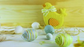 Happy Easter; Easter eggs and spring flowers stock video